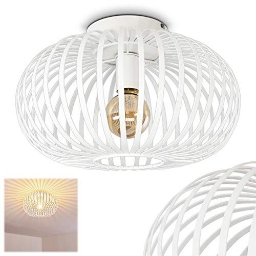 Deckenleuchte Ovari, runde Deckenlampe aus Metall in Weiß, 1-flammig, E27-Fassung max. 60 Watt, Leuchte mit tollen Lichteffekten an der Decke, LED geeignet