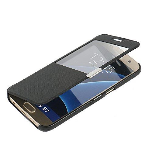 MTRONX pour S7 Coque, Galaxy S7 Coque, Fenetre Vue Ultra Slim Flip Magnetic Cuir Etui Housse Poche Cas Couverture pour Samsung Galaxy S7 - Noir(MW-BK)