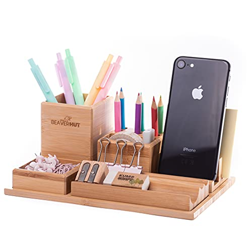 Beaver Hut Bamboo Desk Organizer Set. Desk Accessories & Workspace Organizers. Wooden Pencil Holder for Desk. Aesthetic Office Decor for Women and Men