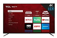 Dimensions (W x H x D): TV without stand: 57.3  X 33.3  X 3.1, TV with stand: 57.3  X 36 X 11.8 inches Smart functionality delivers all your favorite content with over 500,000 movies and TV episodes, accessible through the simple and intuitive Roku T...