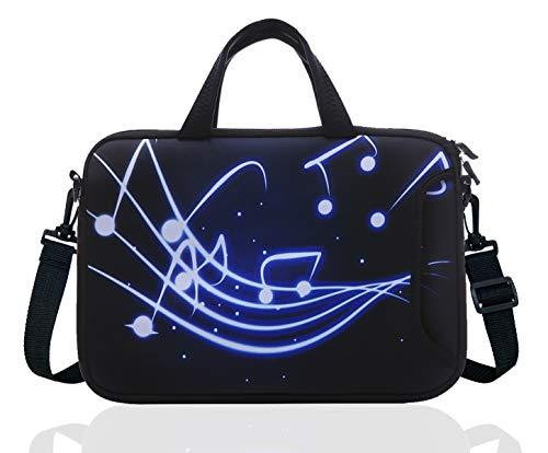 14 Inch Neoprene Laptop Sleeve Case Bag with shoulder strap For 14' Notebook/MacBook/Ultrabook/Chromebook (Black blue music)