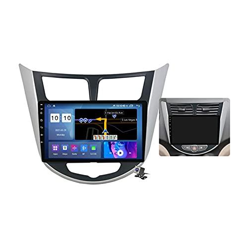 Gokiu Android 11 Radio estéreo para Coche con 9 Pulgadas Pantalla Táctil para Hyundai Solaris 1 2010-2016 Soporta Bluetooth FM RDS Radio/Navegacion GPS/Carpaly (Cámara de Respaldo),Frame b,M600S