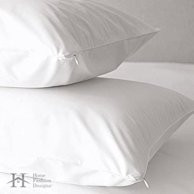Home Fashion Designs 2-Pack Premium Allergy Pillow Protectors. Dust Mite & Bed Bug Resistant Anti-Microbial 500 Thread Count 100% Cotton Zippered Pillow Covers by Brand. (Jumbo/Queen)