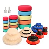 CASOMAN Buffing and Polishing Pad Kit with Mix Size (1', 2', 3') Kit with 5/8'-11 Thread Backing pad & Adapters 29 Piece Set for Car Sanding, Polishing, Waxing, Sealing Glaze