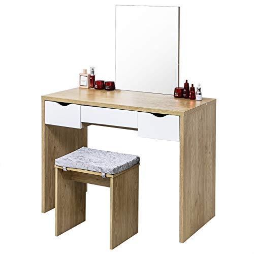 EUGAD Juego Mesa de Tocador con Taburete Tocador Moderno Escritorio con Espejo Mesa de Maquillaje con 3 Cajones Madera 100x49,5x129,5cm Roble+Blanco 0009SZT
