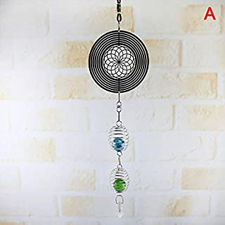 Luckguy 3D Metal Hanging Spinner Wind Chime with Spiral Tail Ball Center Home Decor