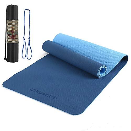 TOMSHOO Esterilla Yoga Antideslizante, Colchoneta Yoga de TPE 8mm, Alfombrilla Yoga Doble Capa y Doble Color con Correa y Bolsa de Transporte para Pilates Ejercicios y Fitness (Azul)