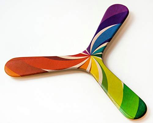 Bumerang Rainbow, Bedruckter Anfänger Bumerang aus Birkenholz