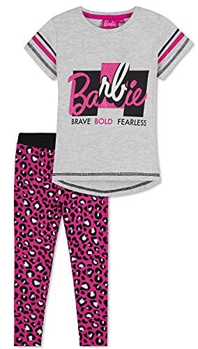 Barbie Completo Sportivo con T-Shirt E Leggings per Bambina 2-13 Anni, Tuta Originale di (Gris/Morado, 8-9 años)