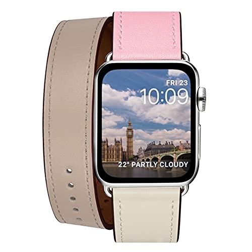 WFEAGL コンパチブル Apple Watch バンド, は本革を使い, iwatch series 7/6/5/4/3/2/1,SE レザー製,Sport/Edition 向けのバンド交換ストラップです コンパチブル アップルウォッチ バンド(38/40/41mm, 二重巻き型 ピンク/ベージュ/象牙)
