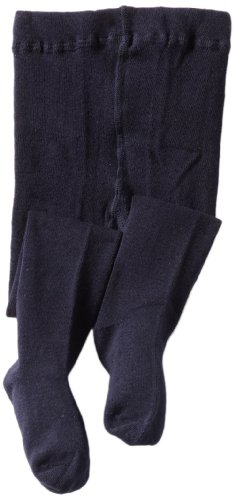 Jefferies Socks Little Girls'  Seamless Organic Cotton Tights, Navy, 4-6 Years