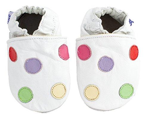 Chaussures bébé en cuir souple Blanc/pois multicolores