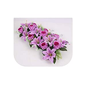 Heart-To-Heart High Grade Silk Artificial Flower Row Arch Flower Wall Lily Arch High Imitation Rose DIY Wedding Road Lead Party Christmas Decor,07