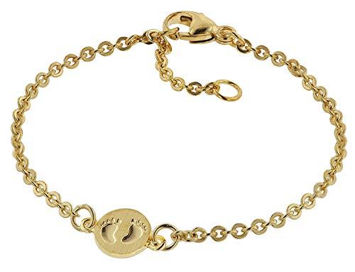 trendor Armband für Babys 333 Gold/8 Kt mit Babyfüße-Plakette 14 cm Mädchen und Jungen Armband, modische Geschenkidee, Armband Echtgold, Armschmuck, 75092