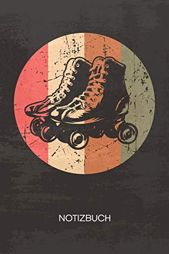 NOTIZBUCH A5 Dotted: Rollschuhfahrer Notizheft GEPUNKTET 120 Seiten - Retro Roller Skates Notizblock Vintage Rollschuhe Skizzenbuch - Vintage Geschenk für Retro Liebhaber Vintage Liebhaber 90er Kind
