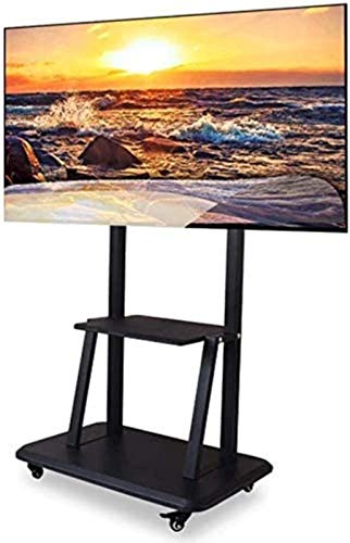 XYSQWZ TV Stand Pedestal Bracket Heavy Duty Support 100KG TV Cart,Mobile TV Stand Fits 60-100' LED LCD Plasma Flat Screen,Adjustable Trolley-Mobile TV Mount with Wheels & 2 Shelfs