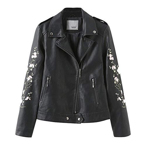 Morton PegfwaS Damen Lederjacke, schwarz Bestickt, Revers Motorradjacke, Lederjacke Mantel