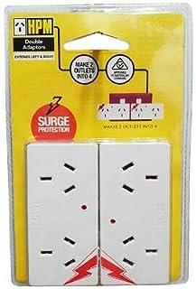 HPM D2PA/2WE Surge Protected Adaptors 2 Pack, White
