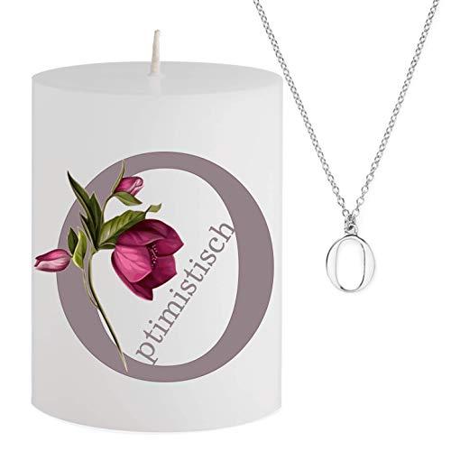 Spell Schmuck - Vela con Mensaje – O péptimo – Collar Plateado Escondido con Letra O – Vela aromática de Cerezo