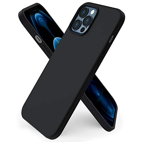 ORNARTO kompatibel mit iPhone 12 Pro Max 6,7 Silikon Hülle, Hülle Ultra Dünne Voller Schutz Flüssig Silikon Handyhülle Schutz für iPhone 12 Pro Max(2020) 6,7 Zoll Mitternachts Schwarz