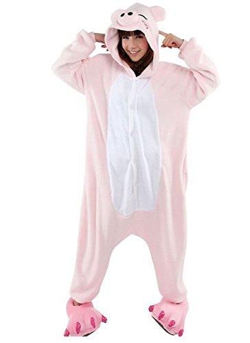 Hot Unisex Costume Carnevale Halloween Festa Party Pigiama Animali Kigurumi Cosplay Zoo Onesies Tuta (X-Large, Maiale Rosa)