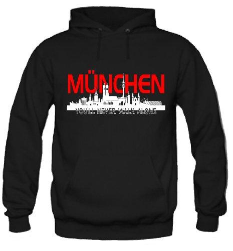 München Skyline Kapuzenpullover | Fussball | Basketball | Bayern | Trikot | Ultras | Männer | Herren | Fanshirt (XL)
