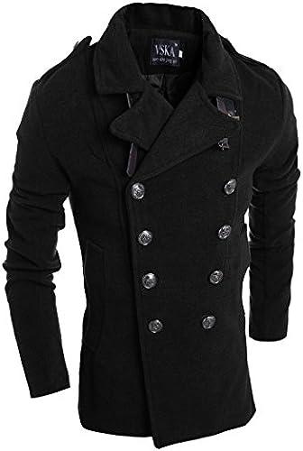 Fvbuhhi la Veste d'hiver à Double Boutonnage croisé Manteau de Laine pour Hommes,noir,m