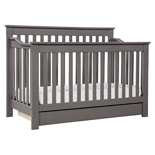 DaVinci Piedmont 4-in-1 Convertible Crib with Toddler Bed Conversion Kit in Slate, Greenguard Gold Certified