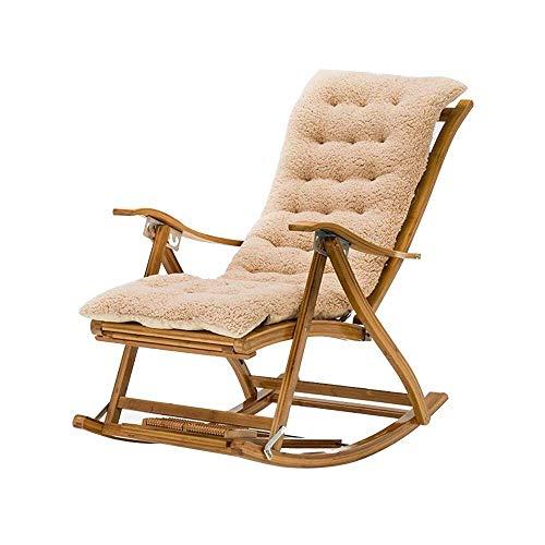 Silla de escritorio de oficina, respaldo de silla mecedora, tira estrecha de bambú para el almuerzo, perezoso, fácil silla, patio, jardín, sillas reclinables plegables (color azul)