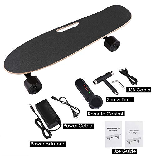 Aceshin Skateboard with Wireless Handheld Remote Control Maple Skateboard Cruiser (Black)