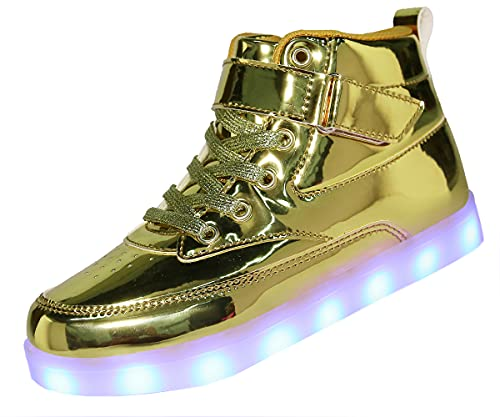 Voovix Kids LED Light Up High-top Shoes Rechargeable Hi-Shine Glowing Sneakers for Boys and Girls...
