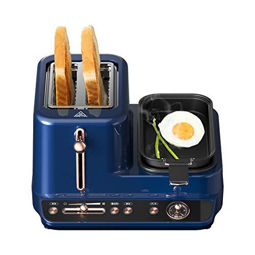DMMSS Tostadora con cocción de Huevo, 3 en 1 Centro de la estación de Desayuno - 2 tostadora de rebanadas - Cocina de Huevo y Poacher - VETERA, TOCONIBLE Y Carne