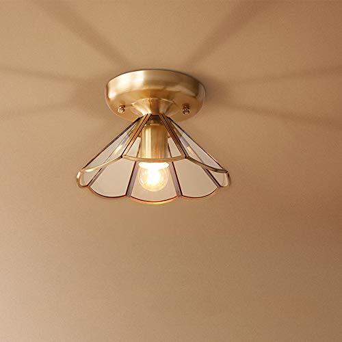 Mini-plafondlamp, modern, Amerikaans, plafondlamp, volledig van koper, eenvoudig, 1 lamp E27, voor slaapkamer, hal, balkon, verlichting 22 x 14 cm