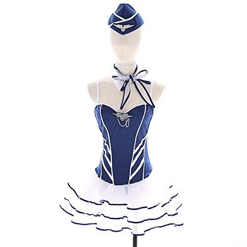 Sexy Cosplay Lace Sling Laag uitgesneden Puff rok Stewardess Uniform Set Erotische Lingerie ZHQHYQHHX (Design : 1)