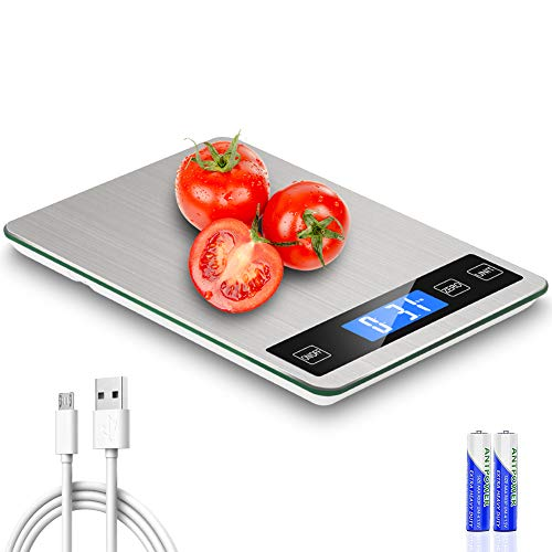 Digital Food Scale, 22 lb Rechargeable Kitchen Scale for Cooking Baking, 1g/0.1oz Precise Graduation, 9'x6.3' Stainless Steel Surface and Tempered Glass Big Panel and Large Backlit LCD Display