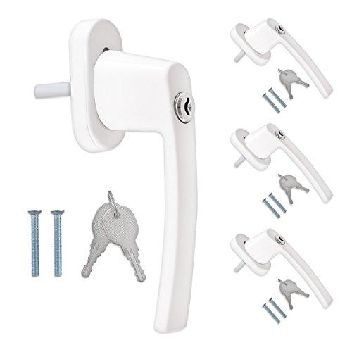 kwmobile 4 pomo de puerta con llave - Manilla de puerta con cerrojo - Manija de seguridad para ventana corredera - Pasador 35MM RAL 9016 color blanco