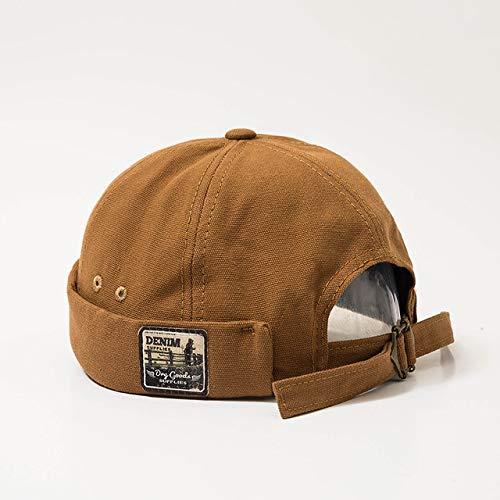 Mdsfe ische mannen en vrouwen caps Matrose hoed geborduurd warm gekrulde manchetten emmerhoed rand eenkleurig verstelbare katoenen kap k3969 beige-A3969