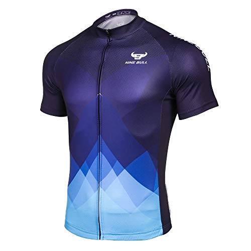 nine bull Men's Cycling Bike Jersey Short Sleeve with 3 Rear Pockets- Moisture Wicking, Breathable, Quick Dry Biking Shirt Blue