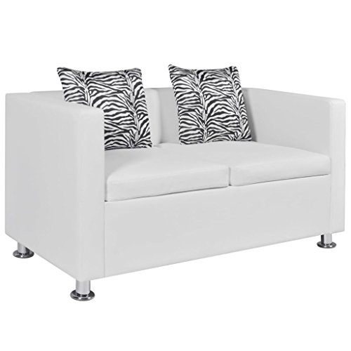 2-Seater Sofa | Modern 2-Seat Sofa Couch with Metal Legs | Faux Leather Living Room Sofa with 2 Pillows | White Artificial Leather 47.2' x 24.6' x 24.8' by EstaHome