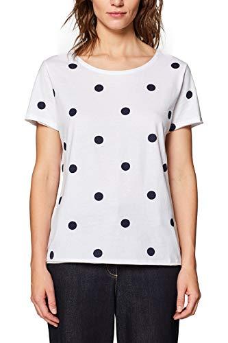 edc by ESPRIT Damen 039CC1K047 T-Shirt, Weiß (White 100), Large (Herstellergröße: L)