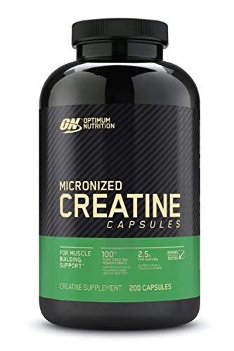 Optimum Nutrition Micronized Creatine Monohydrate Capsules, Keto Friendly, 2500mg, 200 Capsules (Packaging May Vary)