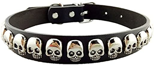 Stock Show Pet Dog PU Leather Collar with Fashion Cool Skull Studded Adjustable Soft Dog Collar Necklace Halloween Costume Accessory for Small Medium Large Breeds Dogs, Black/White