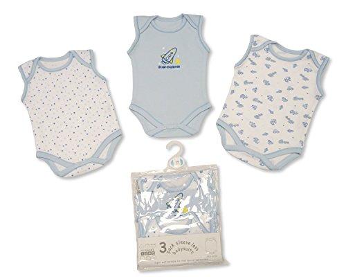 Baby Boys 3 Pack Sleeveless Env Neck Cotton Bodysuit Body Vest Sizes NB 24 Months 3 6