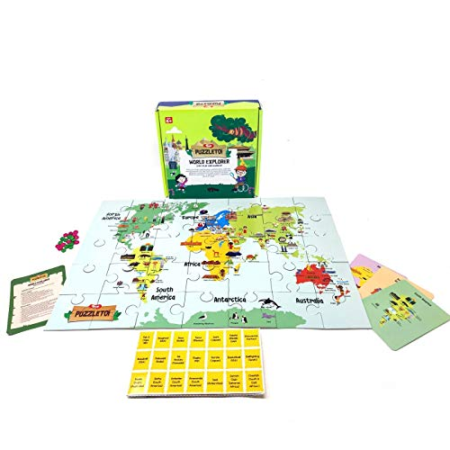 Toiing Puzzletoi World Explorer Map 3 Different Games for 6-10 Year Old Kids - Learn About The World with a World Map Jigsaw Puzzle for Kids, Great Innovative Educational Gift for Boys and Girls