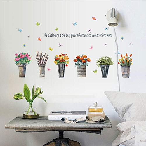 Tuin metalen emmer bloem pot plant muur sticker vensterbank glas muur decoratieve kunst Sticker Sticker