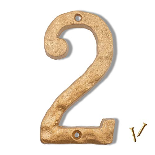 6 Inch House Numbers, Cast Iron Metal Home Address Number, Featuring Solid/Heavy Duty & Sturdy with Golden Finished (Number 2)
