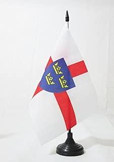 AZ FLAG East Anglia Table Flag 5'' x 8'' - East Anglia - England Desk Flag 21 x 14 cm - Black Plastic Stick and Base