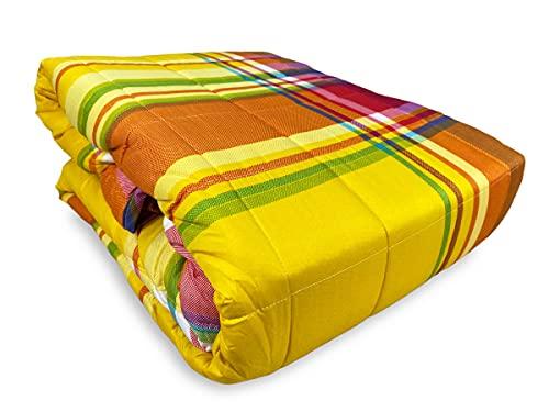 Tex family Colcha acolchada Spring escocesa naranja y amarillo – 2 plazas