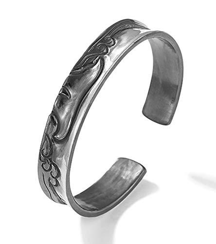 Pulsera abierta de plata de 304,5 m, para hombre y mujer, con cola de ballena y espray tallado a mano, pulsera de alta gama, regalo de buena suerte.