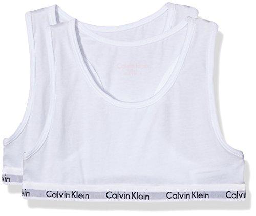 Calvin Klein 2pk Bralette, Reggiseno Bambina, Arancione (White/Bright Nectar Lg), 4-5 anni
